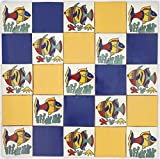 Pack of 25 Assorted Talavera Mexican Handmade 10.5cm Tiles: 'Peces Tranquilo'