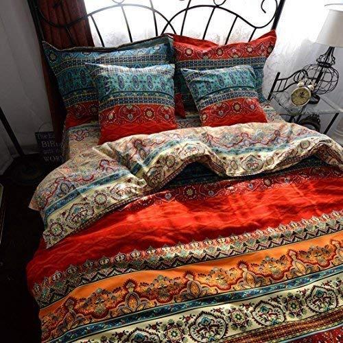 Unimall Biber Bettwäsche 100% Baumwollen Microfaser Boho Style Bettbezug 220x240 cm Schick Exotisch Weich -