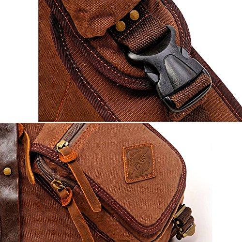 Han Lucky Star Vintage Unisex Canvas Schultertasche Brusttasche Rucksack Sling Bag Body Bag Umhängetasche (Army Green) 1# Coffee