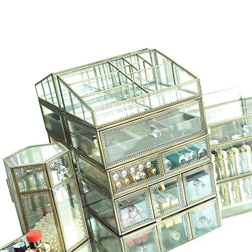 Hersoo antique 4 tiroirs Couche Coiffeuse/Clear en verre et en métal et de stockage de Cosmétique/organiseur de maquillage/Beauté Miroir Grand écran Cases (Laiton)