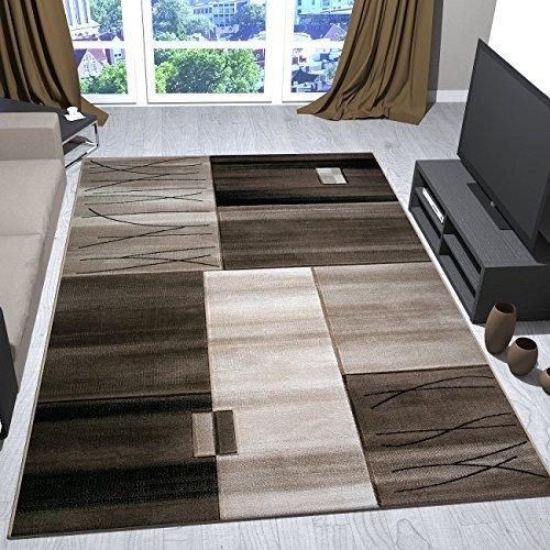 Teppich Kariert Gestreift in Braun Beige Dicht Gewebt für Wohnlandschaft 80x150 cm