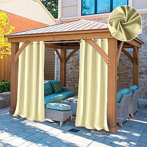 UniEco Outdoor vorhänge Gartenlauben Balkon-Vorhänge 132x215cm Verdunkelungsvorhänge mit Ösen, Vorhang Wasserdicht Mehltau beständig, Pavillon Strandhaus, 1 Stück (1 Pack)
