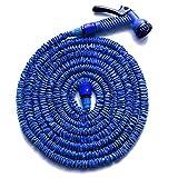 HENGMEI 45m Flexibler Gartenschlauch Wasserschlauch FlexiSchlauch Dehnbarer Schlauch Garten Handbrause mit 7 Multifunktions Sprühkopf (Blau, 45)