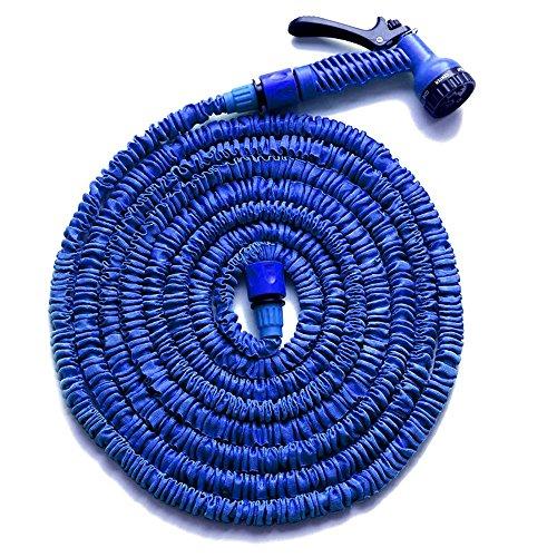 HENGMEI 22.5m Flexibler Gartenschlauch Wasserschlauch FlexiSchlauch Dehnbarer Schlauch Garten Handbrause mit 7 Multifunktions Sprühkopf (Blau, 22.5)