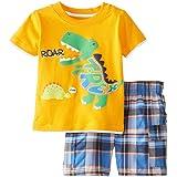Coralup Conjunto de camiseta y pantalones cortos de algodón de manga corta para niños y niñas (12 meses a 7 años)