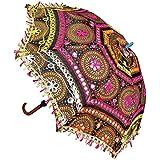 ganesham Handicraft- indio hecho a mano Funda Algodón Fashion Multi Colored playa paraguas de protección UV paraguas, sombrilla, bordado Boho paraguas sombrilla