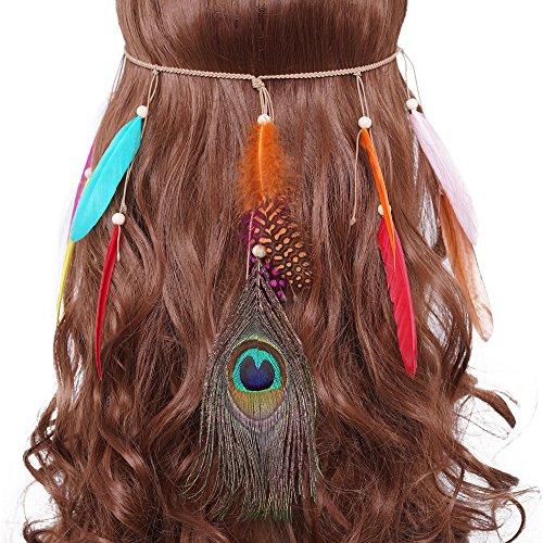 Kostüm Nationales Kleid - LONGBLE Indianer Haarschmuck Feder Stirnband kostüm Damen Boho Stirnbänder mit Handgewebte Quasten Holzperle Einstellbar Haarband Kopfschmuck Federschmuck