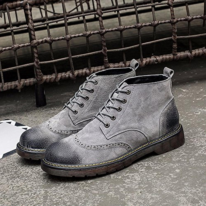 HL-PYL, botas altas botas botas botas botas Retro Martin auxiliar en el Varón.,41,gris