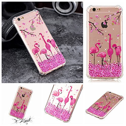 iphone 6 Plus Hülle, iphone 6S Plus Soft Case , Cozy Hut iphone 6 Plus/6s Plus Backcover Silikon Schutzhülle im Rosa Kirschblüten Flamingopaare Design Hülle aus TPU transparent Muster kratzfest - Crystal Clear Ultra Dünn Durchsichtige Backcover Soft TPU Case für iphone 6 Plus iphone 6s Plus 5.5 Zoll - Kirschblüten Flamingo