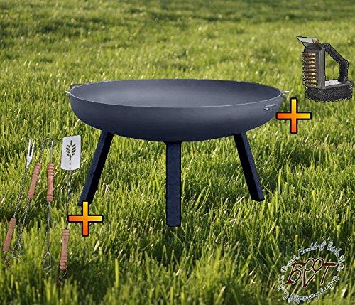 Feuerschale mit rechteckigen Füßen, XL ca. 55cm mit Zubehör: Reiniger + Grillbesteck Feuerstelle Feuerkorb Terrassenofen GRILL | Garten > Grill und Zubehör > Grillzubehör | Stahl | BTV