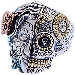 ForFox Media cara joyería Plata de Ley 925 gótico multicolor para hombres y mujeres