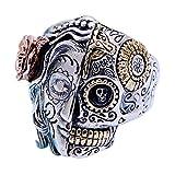 AXJr Bague Punk Homme Gothique En Argent Sterling Demi-Visage Bague Homme Skull Skull...