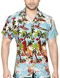 CLUB CUBANA Camisa Hawaiana Floral Manga Corta Casual Ajuste Regular para Hombres Wr4h7