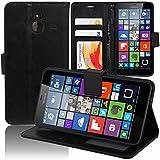 Funda con apoyo para vídeo y libro, tapa de piel sintética efecto tejido para Microsoft Nokia Lumia 640XL/640XL LTE/640XL LTE Dual SIM/640XL Dual SIM
