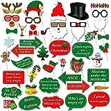 Noël Photo Booth Props (47Pcs), Konsait Accessoires Photobooth Masquerade Accessoires Drôle Xmas bricolage Selfie Props avec bâtons kit pour adultes enfants fête de Noël Party favorise décorations (Type 1)