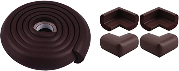 RK Collections Baby Boys and Baby Girls Safety Strip Cushion & Corner Guards with Strong Fibreglass Tape (Brown)