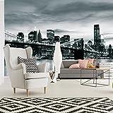 FORWALL Fototapete Vlies Tapete Moderne Wanddeko New York City und Brooklyn Bridge VEXXXL (416cm. x 254cm.) AMF226VEXXXL Stadt/städtisch