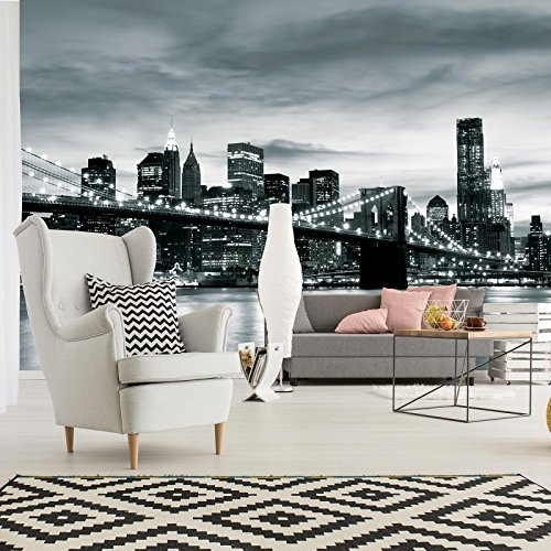 ForWall Fototapete Vlies Tapete Design Tapete Moderne Wanddeko Gratis Wandaufkleber New York City und Brooklyn Bridge V8 (368cm. x 254cm.) Photo Wallpaper Mural AMF226V8 Stadt Städtisch New York Brooklyn Bridge Schwarz TAPETENKLEISTER INKLUSIV