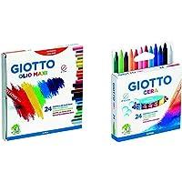 Giotto Pastelli Ad Olio In Astuccio Da 24 Colori & 282200, Pastelli A Cera In Astuccio Da 24 Colori