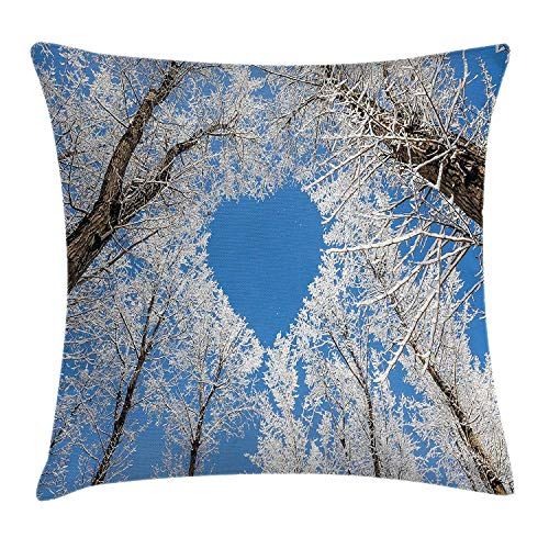 Winter Decorations Throw Pillow Cushion Cover, Heart Shaped Branches Bottom to Top Line Horizontal View Romance Concept, Decorative Square Accent Pillow Case, 18 X 18 inches, White Blue