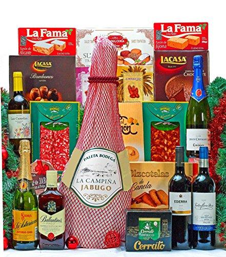 Lote Cesta Gourmet De Navidad Con Paleta Serrana + 2 Bono Hotel Para 2 Personas - 1 Bot. Cava Brut Codorniu Cuvee Gran Cremant 75cl 1 Bot. Sidra La Asturiana 75cl 1 Bot. Vino Tinto Ederra Crianza D.O. Rioja 75cl 1 Bot. Vino Tinto Faustino Rivero Joven D.O. Rioja 75cl 1 Bot. Vino Blanco Las Camelias 75cl 1 Bot. Whisky Ballantines 50cl Turrones Y Dulces 1 Pastilla Turrón Alicante Extra La Fama 150g 1 Pastilla Turrón Jijona Extra La Fama 150g 1 Estuche Bizcotelas De Canela Dulcestepa 100g