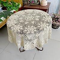 *ropa de cocina Mantel redondo Flor de ganchillo hecho a mano Mesa de centro pequeña