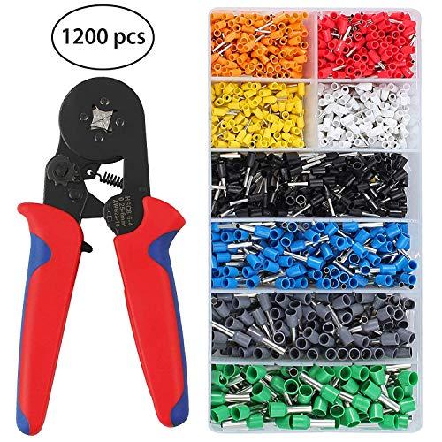 Proster Crimpzangen Set Mit 1200 Aderendhülse 0,25-6,0mm² Crimpzange mit 1200 pcs Steckverbinder Terminal tragbar AWG 24-10 Crimpwerkzeug für Hülsen Typ Terminal