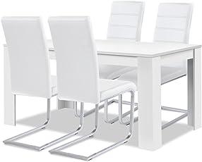 Agionda® Esstisch + Stuhlset : 1 X Esstisch Toledo 140 X 90 Weiss + 4