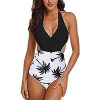 Maillot de Bain 1 Piece Femme v-Cou Halter Backless Bain de Soleil imprimé Sexy Bikini