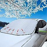 TOPWINRR Couverture Pare Brise Magnétique Soleil Neige Voiture SUV avec Housse de Mirror Arrière Bande Réfléchissante Coupe Vent Imperméable Argent 147 * 126cm