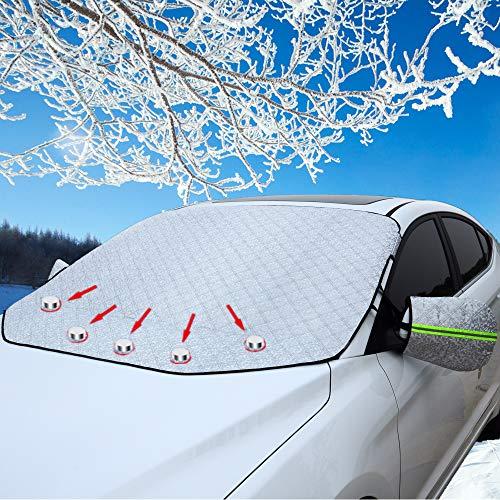 CCAUTOVIE Frontscheibenabdeckung Auto Scheibenabdeckung Windschutzscheibe Abdeckung Magnet Auto Abdeckung für Windschutzscheibe Gegen Schnee EIS Frost Staub Sonne Auto SUV 147x126cm