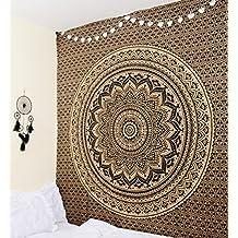 RawyalCrafts Unique Collection Tapisserie/couvre-lit original Motif mandala indien/hippie Noir/doré
