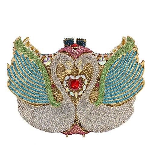 Frauen-Luxus Schwan Diamanten Abendtasche Kristallhandtasche A