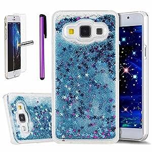 Newstars, sm-a300F, Cover protettiva per Samsung Galaxy A32015,trasparente, con liquido fluttuante, glitter e lustrini a forma di cuori e stelle, rigida, con 1x pellicola protettiva + 1x penna stilo