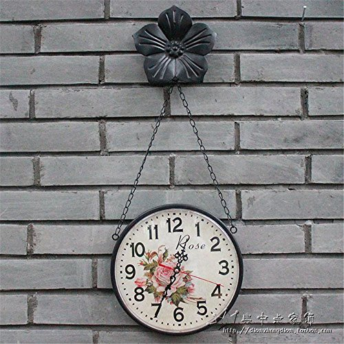 AIZIJI Eisen Jugendstil Uhren ländliche Wohnzimmer kreative Mute große Wanduhr personalisierte...