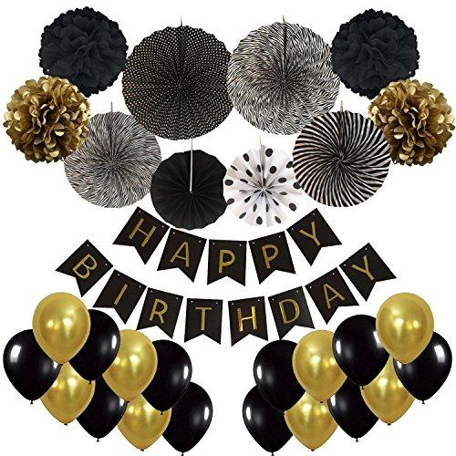 Geburtstag Dekoration, Cocodeko Happy Birthday Wimpelkette Girlande mit 4 Seidenpapier Pompoms, 6 Papier Fans Fächer und 20 Luftballons - Schwarz, Gold und Weiß