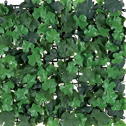 Siepe Sintetica con Foglie 3D Simil Geranio in Moduli Componibili, Tenax Divy Puzzle Geranium 1 m² (4 moduli da 0,5x0,5 m), Verde