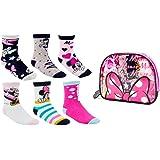 Disney Minnie Mouse Calcetines para Niñas, Pack Múltiple de 6 Calcetines, 100% Algodón Suave, Juego de Calcetines, Incluye Bo
