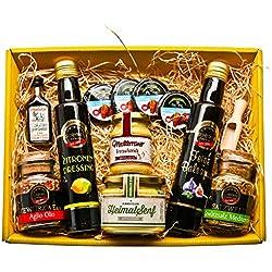 Präsentkorb für Feinschmecker gefüllt |Geschenkkorb für Männer und Frauen | Feinkost-Presentkorb glutenfrei und mediteran