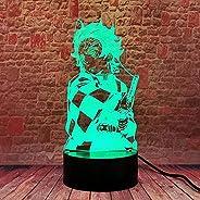 3D LED ضوء الليل الوهم مصباح Usb Anime Kamado Tanjirou Demon Slayer Bedroom