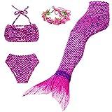 BESTYLING 4PCS Ragazze Sirena Coda Costume da bagno Principessa Bikini con Ghirlanda (140, viola)