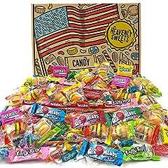 Idea Regalo - Heavenly Sweets Selezione di Dolcetti Americani Misti per Feste - Più di 120+ Dolci, Caramelle Assortite e Snack dagli USA - Idea Regalo per Compleanno, Natale, Halloween - Scatola di Cartone Vintage