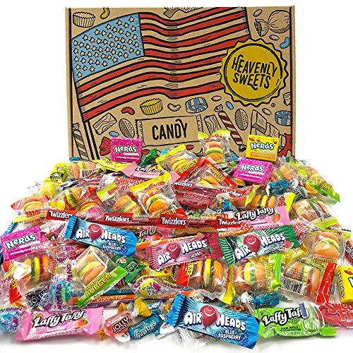 Heavenly Sweets Party-Mix Amerikanische Süßigkeiten -Auswahl von über 120+ Mini-Sweets aus den USA - Geschenkidee für Geburtstag, Weihnachten, Halloween für Kinder & Erwachsene - Coole Retro-Box