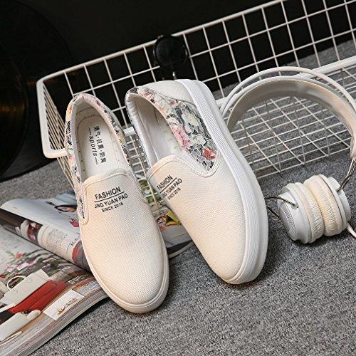 La Vogue Baskets Slip-On Basses Mode Ville Femme Fille Sneakers Chaussures Tendance Florales Casual Blanc