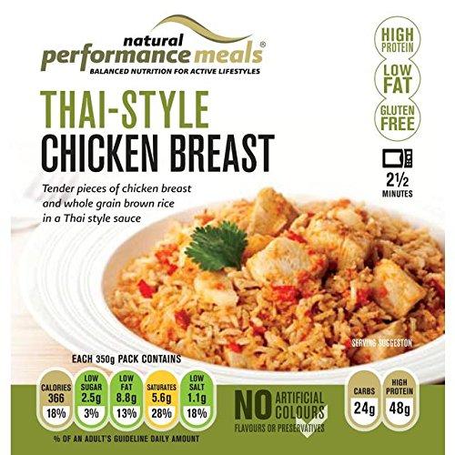 Repas de performance de style thaïlandais Poitrine de poulet avec riz brun 350g
