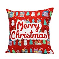 Bluester Christmas Linen Square Throw Pillow Case Decorative Cushion Pillow Cover 18*18'' (N)