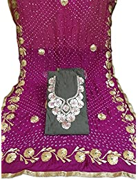 Chnderi Kurti Gota Patti Work Bndhej Dupta With Chrkhi Gota Work