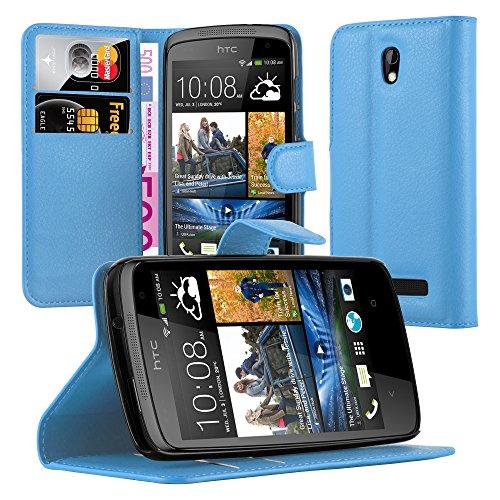Cadorabo Hülle für HTC Desire 500 Hülle in Pastel blau Handyhülle mit Kartenfach & Standfunktion Case Cover Schutzhülle Etui Tasche Book Klapp Style Pastell-Blau