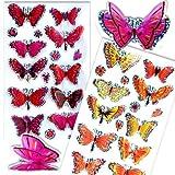 Schmetterling 3D Glitzer Sticker mit Flügeln, versch. Farben möglich, je 3,5cm x 2cm