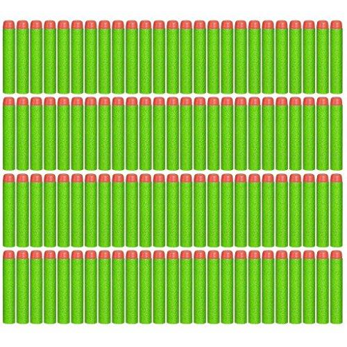 Topways® 100pcs Mousse Fléchettes Recharge Balle de Nerf pr N-Strike Elite Blasters Pistolet Jouet Darts Refill Bullet for Toy Gun (Green 100 pcs)